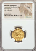 Ancients:Byzantine, Ancients: Heraclius (AD 610-641), with Heraclius Constantine. AVsolidus. NGC AU....