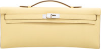 Hermes Jaune Poussin Swift Leather Kelly Cut Clutch Bag with Palladium Hardware T, 2015 Condition