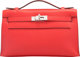 """Hermes Rouge Tomate Swift Leather Kelly Pochette Bag with Palladium Hardware X,2016 Condition:1 8.5"""" Width x 5&quot..."""