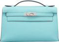 """Luxury Accessories:Bags, Hermes Blue Atoll Swift Leather Kelly Pochette Bag with PalladiumHardware. T, 2015. Condition: 2. 8.5"""" Width x5""""..."""