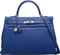 """Luxury Accessories:Bags, Hermes 35cm Blue Electric Togo Leather Retourne Kelly Bag with Palladium Hardware. O Square, 2011. Condition: 3. 14"""" Width..."""