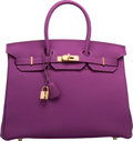 """Luxury Accessories:Bags, Hermes 35cm Anemone Togo Leather Birkin Bag with Gold Hardware. R Square, 2014. Condition: 1. 14"""" Width x 10"""" Heig..."""