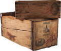 Football Collectibles:Others, 1922 Jim Thorpe's Oorang Indians Wooden Crates Lot of 2.. ...