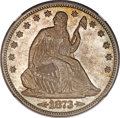 Seated Half Dollars, 1873 50C Large Arrows, Misplaced Date, FS-301, WB-106, MS66+NGC....