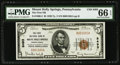 National Bank Notes:Pennsylvania, Mount Holly Springs, PA - $5 1929 Ty. 1 The First NB Ch. # 8493. ...