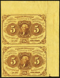 Fractional Currency, Fr. 1230 5¢ First Issue Vertical Uncut Pair with Selvedge Very Fine-Extremely Fine.. ...