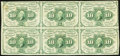 Fractional Currency, Fr. 1242 10¢ First Issue Block of Six Fine-Very Fine.. ...