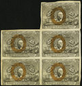 Fractional Currency, Fr. 1284 25¢ Second Issue Block of Five Very Fine-Extremely Fine.. ...
