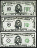 Fr. 1957-E; G; H $5 1934A Federal Reserve Notes. Extremely Fine-Choice Crisp Uncirculated