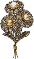 Estate Jewelry:Brooches - Pins, Cultured Pearl, Diamond, Gold Brooch, M. Buccellati. ...