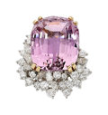 Estate Jewelry:Rings, Kunzite, Diamond, Platinum, Gold Ring. ...