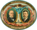 Political:3D & Other Display (1896-present), McKinley & Roosevelt: Large 1900 Jugate Lithographed TinServing Tray....