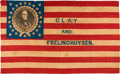 "Political:Textile Display (pre-1896), Henry Clay: Spectacular Large 50"" 1844 Campaign Flag Banner...."