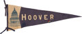 Political:Textile Display (1896-present), Herbert Hoover: An Uncommon Felt Campaign Pennant. ...