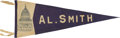 Political:Textile Display (1896-present), Al Smith: Capitol Dome Name Pennant....