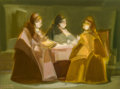 Fine Art - Painting, European:Modern  (1900 1949)  , Abraham Goldberg (Israeli, 1903-1980). Three Figures. Oil canvas laid on panel. 12-1/4 x 16-1/8 inches (31.1 x 41.0 cm)...