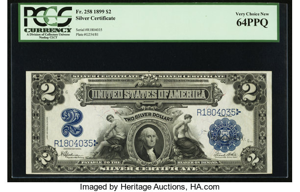 Fr. 258 $2 1899 Silver Certificate PCGS Very Choice New 64PPQ ...