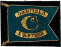 Political:Textile Display (pre-1896), James A. Garfield: Unique, Superb, Painted Silk, Swallow-TailBanner....