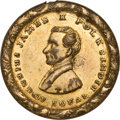 Political:Tokens & Medals, James K. Polk: Choice Example of Dual-Portrait Brass Shell Locket....