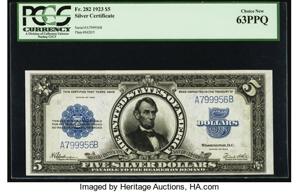 Fr. 282 $5 1923 Silver Certificate PCGS Choice New 63PPQ. Large ...