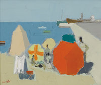 PIERRE PALUÉ (French b. 1920) At The Beach Oil on canvas 17-3/4 x 21-1/4 inches (45.1 x 54.0 cm)<