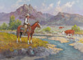 Fine Art - Painting, American:Contemporary   (1950 to present)  , Fred Oldfield (American b. 1918). Range Detective, 1980. Oilon canvas. 22 x 30 inches (55.9 x 76.2 cm). Signed lower le...