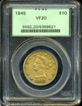 "Liberty Eagles: , 1845 $10 VF20 PCGS. The current Coin Dealer Newsletter (Greysheet)wholesale ""bid"" price is $485.00...."