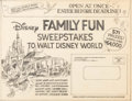 Animation Art:Concept Art, Disney Family Fun Sweepstakes Mailer Design Layout (Walt Disney, c. 1970s)....
