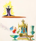 Animation Art:Production Drawing, Sleeping Beauty Maleficent and the Three Fairies Story BookIllustration (Walt Disney, c. 1957)....