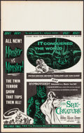 "Movie Posters:Science Fiction, It Conquered the World/The She-Creature Combo (AmericanInternational, 1956). Benton Window Card (14"" X 22""). ScienceFictio..."
