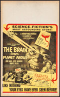 "Movie Posters:Science Fiction, The Brain from Planet Arous (Howco, 1957). Benton Window Card (14""X 22""). Science Fiction.. ..."
