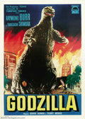 "Movie Posters:Science Fiction, Godzilla (Toho, 1956). Italian Poster (55"" X 78""). In 1954, Tohofilms and pioneer, Ishiro Honda unleashed a mutated giant a..."