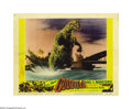"Movie Posters:Science Fiction, Godzilla (Toho, 1956). Lobby Cards (3) (11"" X 14""). Director IshiroHonda's film about the famous 400-foot tall mutant dinos... (3items)"