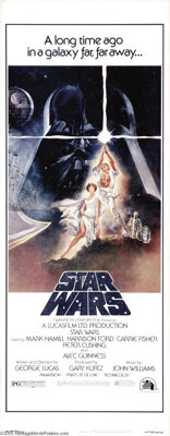 "Star Wars (20th Century Fox, 1977). Insert (14"" X 36""). George Lucas admired the body of work from Japanese fi..."