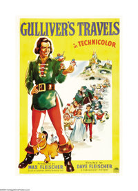 "Gulliver's Travels (Paramount, 1936). One Sheet (27"" X 41"") Style A. Animators Dave and Max Fleischer made thi..."
