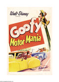 "Movie Posters:Animated, Motor Mania (RKO, 1950). One Sheet (27"" X 41""). This Disney cartoonshort stars Goofy, who makes a Jekyll/Hyde type transfor..."