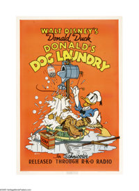 "Donald's Dog Laundry (RKO, 1940). One Sheet (27"" X 41""). Donald Duck invents an automatic dog washer, but when..."