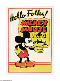 "Mickey Mouse Stock Poster (Columbia, 1932). One Sheet (27"" X 41""). In 1928-1929 Walt Disney's Mickey Mouse car..."
