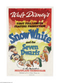 "Movie Posters:Animated, Snow White and the Seven Dwarfs (RKO, 1937). One Sheet (27"" X 41"")Style A. Disney was on the verge of bankruptcy when it ma..."