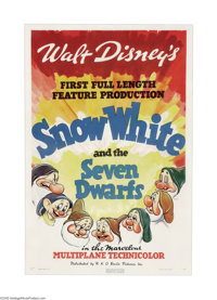 "Snow White and the Seven Dwarfs (RKO, 1937). One Sheet (27"" X 41"") Style A. Disney was on the verge of bankrup..."