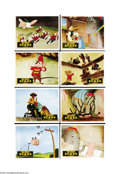 "Movie Posters:Animated, Dumbo (RKO, 1941). Set British FOH Color Stills (8) (8"" X 10"").This rare full set of front of house British stills mimicked... (8pieces)"