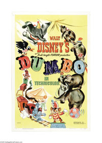 "Dumbo (RKO, 1941). One Sheet (27"" X 41""). The original release of this Disney classic grossed more revenue tha..."