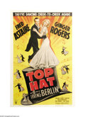 "Movie Posters:Musical, Top Hat (RKO, R-1953). One Sheet (27"" X 41""). The musical teamingof Fred Astaire and Ginger Rogers in ""Flying Down to Rio"" ..."