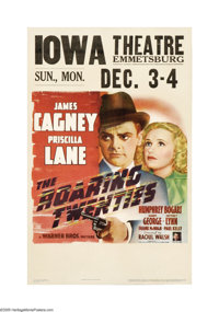 """The Roaring Twenties (Warner Books, 1939). Window Card (14"""" X 22""""). James Cagney plays an out of work cabbie w..."""