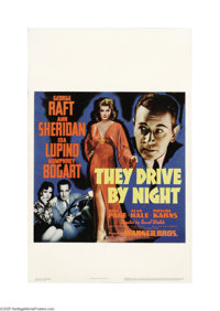 "They Drive By Night (Warner Brothers, 1940). Window Card (14"" X 22""). This poster for the Raft/Humphrey Bogart..."