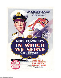 "In Which We Serve (Gaumont, 1942). Australian One Sheet (27"" X 41""). Noel Coward was nervous directing, since..."