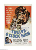 "Movie Posters:War, Twelve O'Clock High (20th Century Fox, 1949). One Sheet (27"" X41""). Gregory Peck portrays Brigadier General Frank Savage in..."