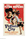 "Movie Posters:Western, Virginia City (Warner Brothers, 1940). One Sheet (27"" X 41""). Unionofficer Kerry Bradford (Errol Flynn) fights Confederate ..."
