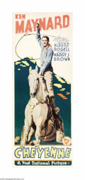 """Movie Posters:Western, Cheyenne (First National, 1929). Insert (14"""" X 36""""). Super cowboy Ken Maynard stars in this early Western feature. The inser..."""