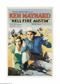 "Movie Posters:Western, Hell-Fire Austin (Tiffany, 1932). One Sheet (27"" X 41""). KenMaynard was a trick rider in Buffalo Bill's Wild West Show and ..."